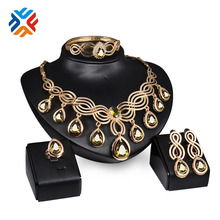 Crystal Jewelry Set 3 Color Gold Plated Fashion Party Wedding Bridal Rhinestone Necklace Earring Sets Bangle Ring Accessories