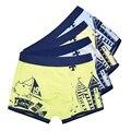 2 pçs/lote macio adolescente meninos das crianças shorts calcinhas de algodão orgânico do bebê listras menino de underwear crianças coloridas underwear 2-16y