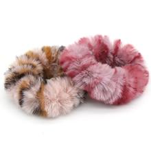 1pc Animal Print Lady Hair Scrunchies Ring Elastic Bands Faux Mink Fur Bobble Sports Dance Wool Charming Scrunchie Hairband
