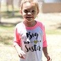 Bebé Chicas flecha Impresión de la Letra de La Camiseta remata La Blusa de algodón de Manga Larga Del Niño niños camiseta de las muchachas ropa Niños Jerseys Tee