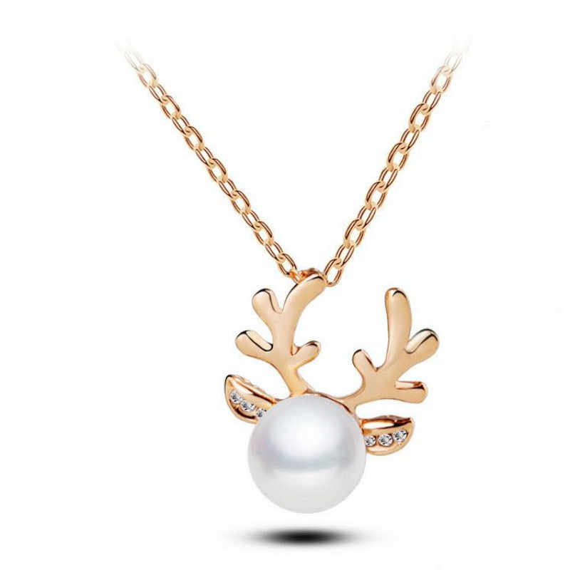 New Simulated Pearl Jewelry Sets Antlers Christmas Tree Gold/Silver Plated Statement Earrings Necklace Jewelry Sets
