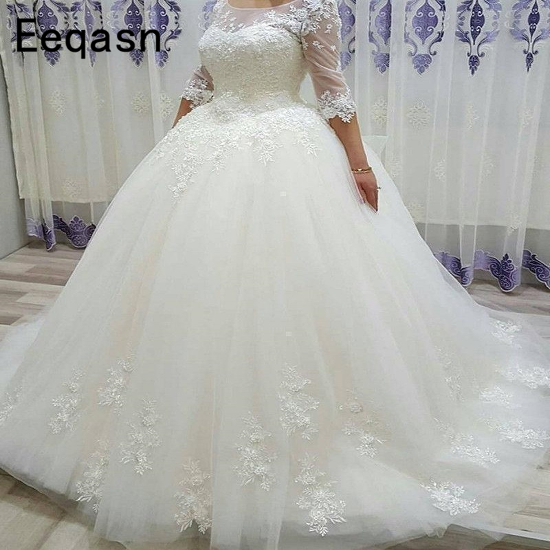 Long Ball Gown Wedding Dresses Lace Appliques Custom Turkey Half Sleeves Vintage Arabic Wedding Gown 2018 Trouwjurk