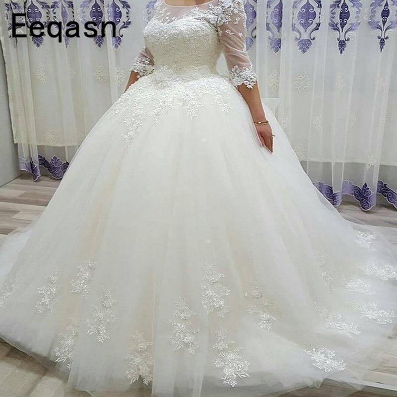 Long Ball Gown Wedding Dresses Lace Appliques Custom Turkey Half Sleeves Vintage Arabic Wedding Gown 2020 Trouwjurk