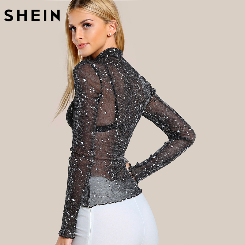 SHEIN Mock Neck Lettuce Hem Glitter Mesh Blouse Sexy Womens Long Sleeve  Tops Black High Neck Elegant Slim Blouse-in Blouses   Shirts from Women s  Clothing ... c243bf94d8cf