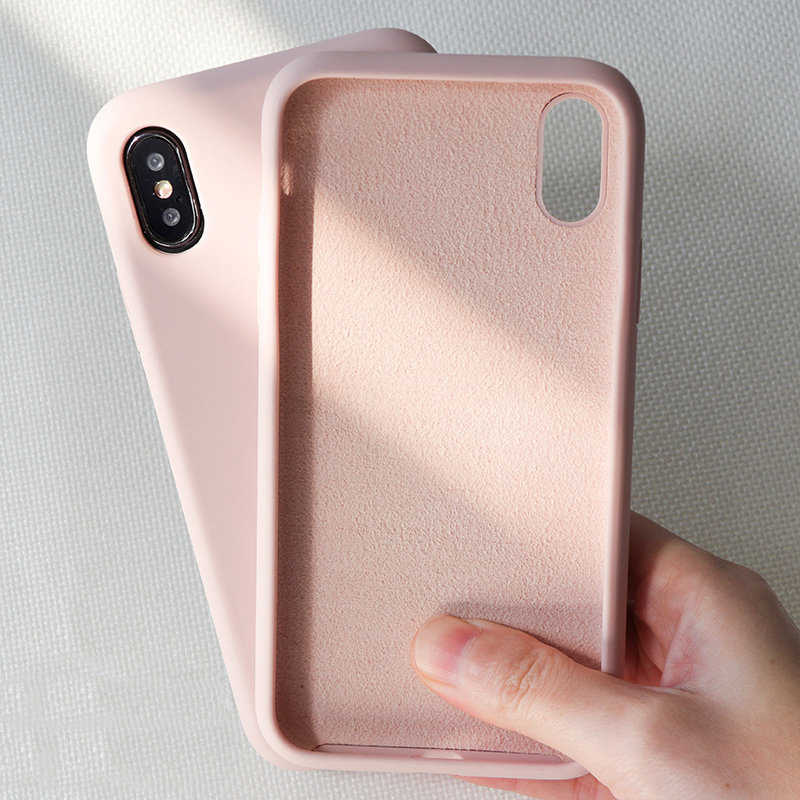 Funda de teléfono de silicona de Color Simple Original para iPhone 6 6 S 7 8 Plus funda trasera suave de Color caramelo para iPhone XR XS Max