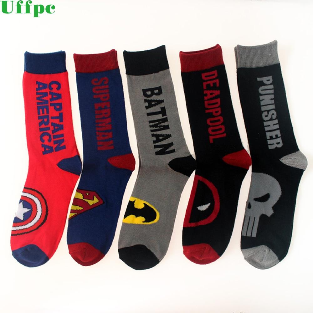 5 Pairs/Lot men colorful socks Superman note cotton socks man fashion long socks Batman high quality Captain America
