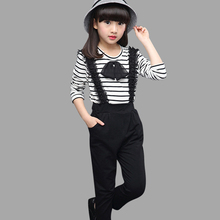 Girls Clothes Set Teenage Striped Shirt + Jumpsuit 2 PCS Kids Tracksuits Autumn Spring Kids Clothes For Girls 6 8 10 12 Year