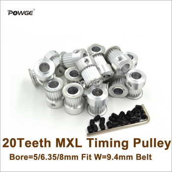 POWGE 50pcs 20 Teeth MXL Timing Pulley Bore 5/6.35/8mm For W=9.4mm MXL Timing Belt 3D Printer Ultimaker(20T 20Teeth MXL Pulley)
