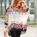 Мода Женщины Девушки Цветочный Печати Batwing Dolman Рукавом Повседневная Свободную Рубашку Шифон Блузка Топы