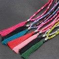 Boho de bohemia Cuentas de Collar de Vidrio de Palomitas de maíz Joyeria Collares Joyería Collier Colar Maxi Larga Borla Buddha Encanto collar de las mujeres