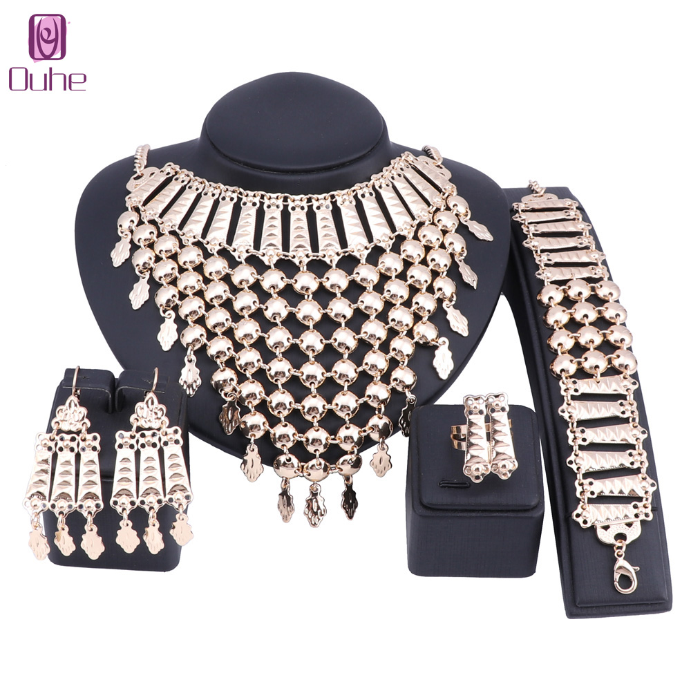 OUHE Ethiopian Traditional Festivals Jewelry Set Gold Color Necklace Earrings Bracelet Ring for Women Bridal Statement Sets