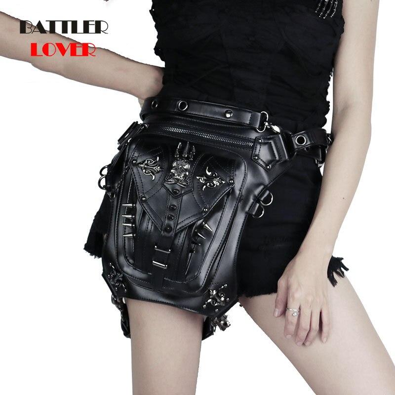 Gothic Skull Waist Bag Punk Retro Leather Rivets Leg Messenger Bag Personalized Unisex Fanny Pack Phone Purse Crossbody Handbag