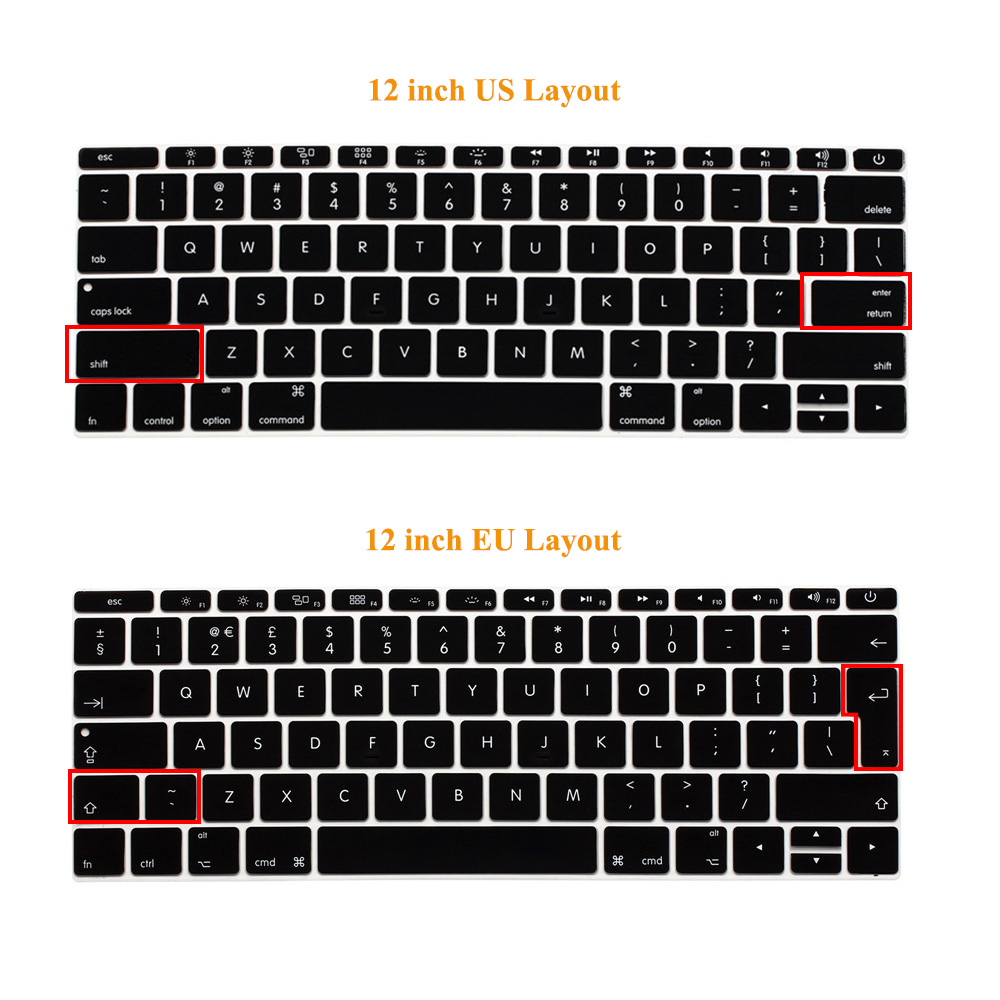 Image 5 - English Silicone Keyboard Cover for MacBook Pro 13 inch Non TouchBar Release 2016+ and For MacBook 12 inch A1534 A1931 Skin Film-in Keyboard Covers from Computer & Office