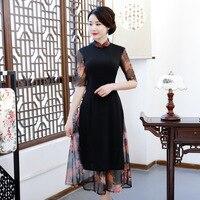 Hot Sale Black Lady Chinese Style Mandarin Collar Chiffon Dress Vietnam Aodai Qipao Half Sleeve Sexy Print Mesh Cheongsam S 3XL