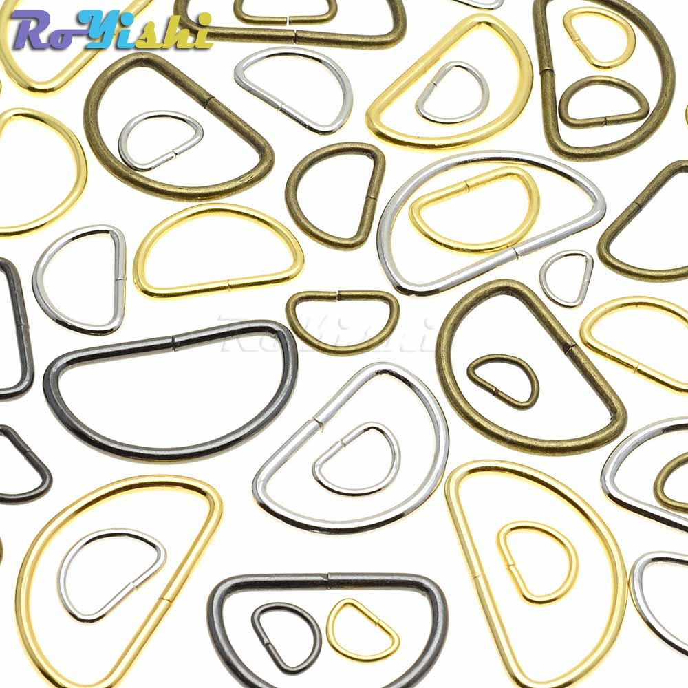 10pcs/pack Non-Welded Nickel Plated D Ring Semi Ring Ribbon Clasp Knapsack Belt Buckle