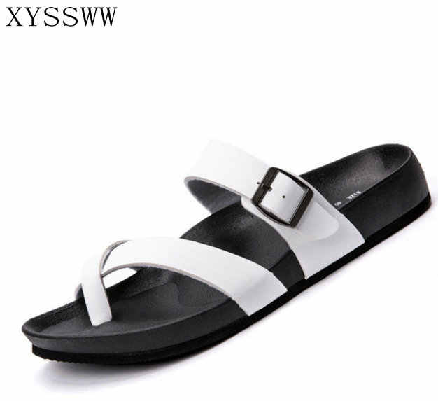 0683c2f178904f Men Sandals in Men s Slippers Flip Flops Leather Casual Flats 2017 summer Beach  Fashion Outdoor to