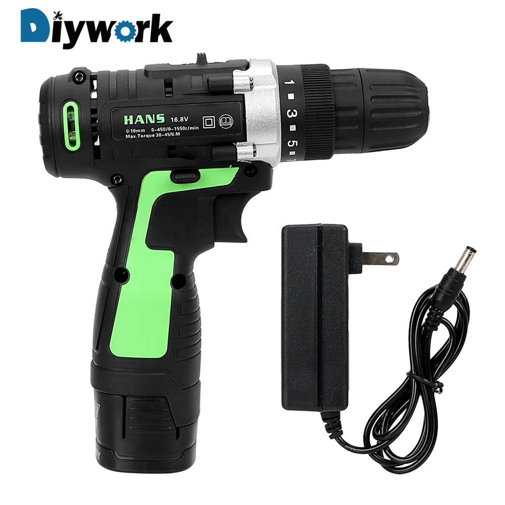 цена на DIYWORK 16.8V Perforator Lithium Battery Charging Electric Screwdriver Double Speed Power Tools Electric Drill