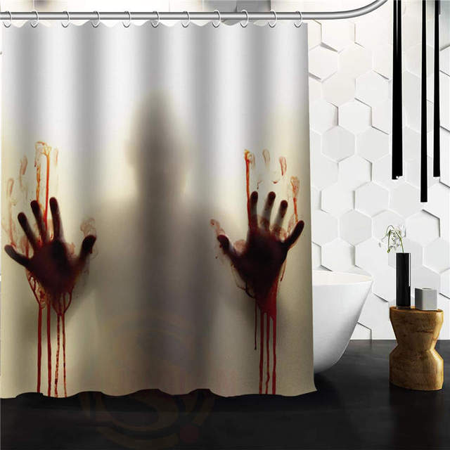 New Arrival Walking Dead Creepy Bloody Hands Custom Shower Curtain 36x72 48x72 60x72 Inch