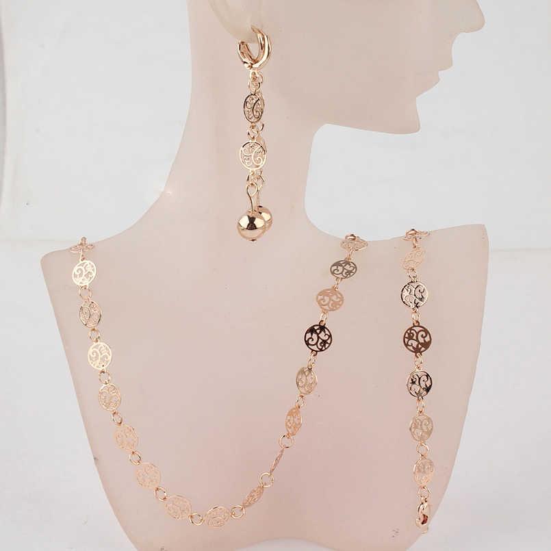 Vintage Hohle Blume Afrikanische Schmucksachen für Frauen Gold Farbe Halskette Ohrringe Armband Hochzeit Schmuck valentinstag Geschenk