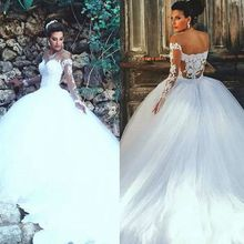 XGGandXRR Ball Gown with Long Sleeves Wedding Dresses For