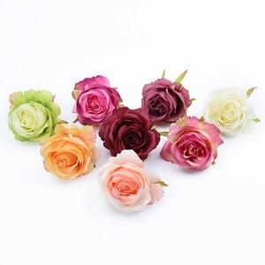 Image 2 - 6/10 stück künstliche blumen für home dekoration hochzeit auto braut zubehör freiheit diy geschenke box seide rosen blume wand