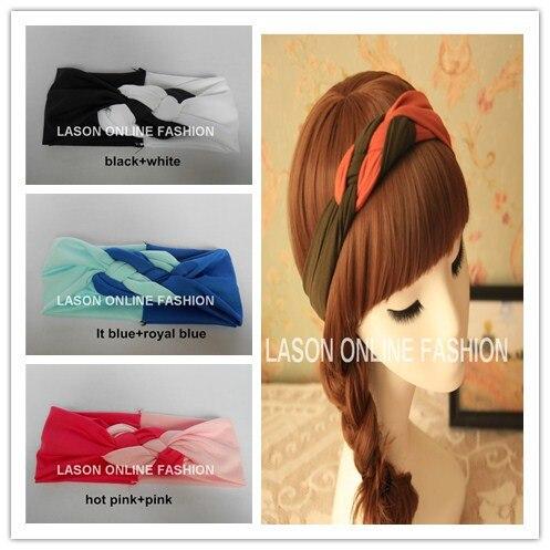 DHL/EMS 60 шт./партия богемный твист ободок с бантом повязка на голову двухцветная Лоскутная повязка для волос