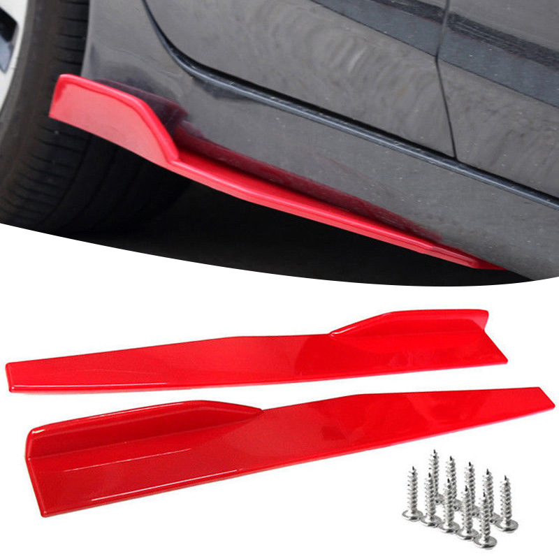 2x 74 5cm Red Car Side Skirt Spoiler Rocker Splitter Auto Bumper Canard Diffuser Winglet Wings High Quality in Styling Mouldings from Automobiles Motorcycles