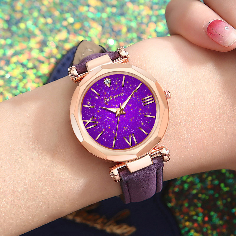 Women Casual Quartz Watch Round Star Dial Wrist Watch With Perforated Frosted Strap LL@17