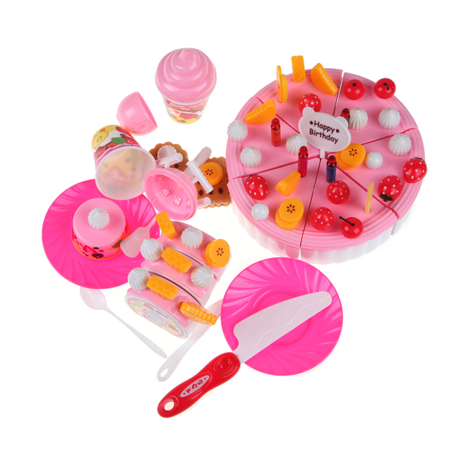 Baby Girls Cake Toy Plastic Pretend Play Toy Cake Icecream and Tea Fruit Cutting Set in Carrying Box Kitchen Classic Toys