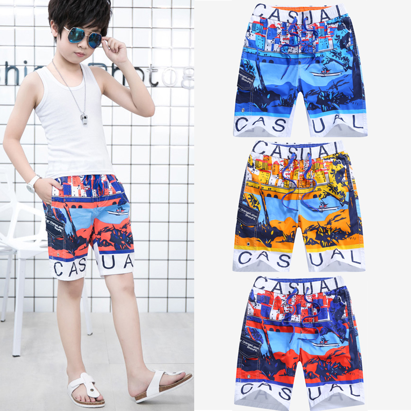 Boys Beach Shorts Sports Children Board Shorts Summer 2018 Kids Surf Swimwear 7-15Years Cotton Beach Pants Child Swimming Trunks