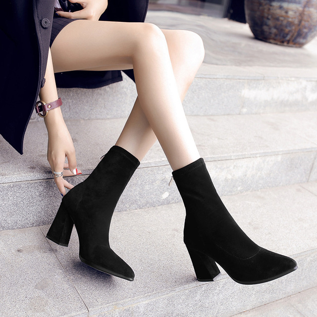 2d0a464a4ee 2019 Women Socks Boots Autumn Elastic Boots Pointed Toe Middle High-heeled  Boots Thick Women Black Shoes Heels High 7CM or 9CM
