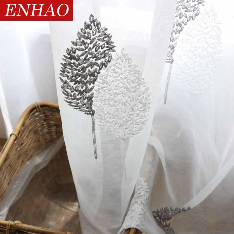 ENHAO לבן עלים Sheer טול וילונות לסלון חדר שינה מטבח וואל Sheer וילונות חלון טול וילונות וילונות