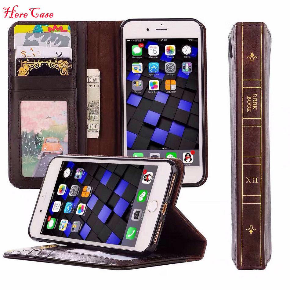 Classic Book Cover Phone Cases : Cosplay vintage leather book harry potter wallet case for