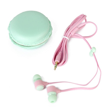 100g Pink+ Green 3.55mm ABS 1.2M Line Lenght In-Ear Earphone With Cute Colorful Storage Box For Young People