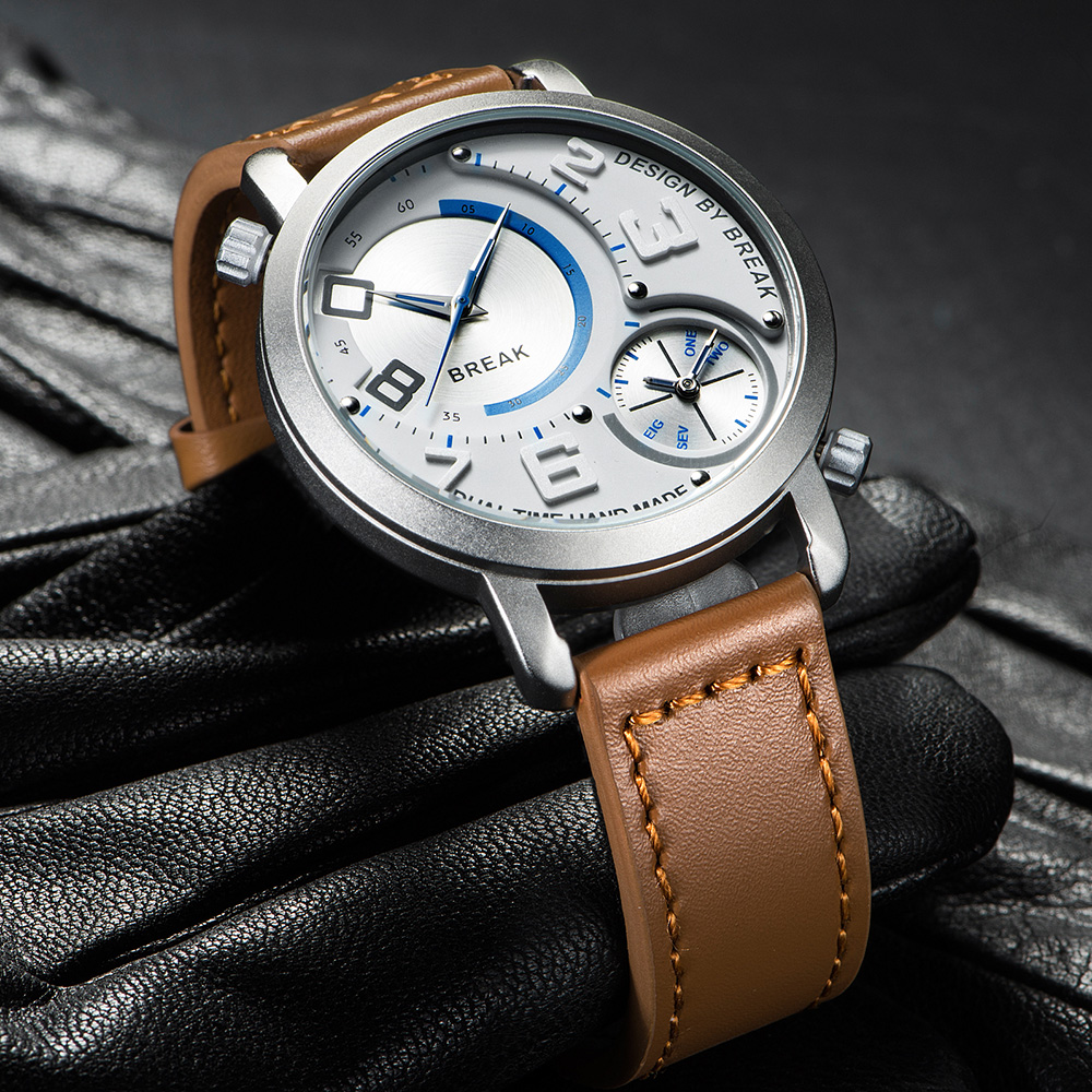 Break New Men Sports Style Dual Time Zone Quartz Wristwatches Top Leather Band Waterproof Fashion Watches