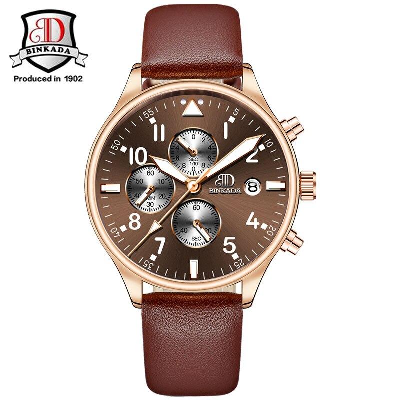 Binkada 2019 heren chronograaf sport horloges topmerk luxe zakelijke - Herenhorloges - Foto 4