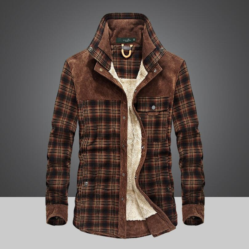 Winter Snow Warm Men Shirts Thick Lined Plaid Plus Size 4XL Brand AFS ZDJP 100% Cotton 2018 New Windbreaker Casual Male Blouses