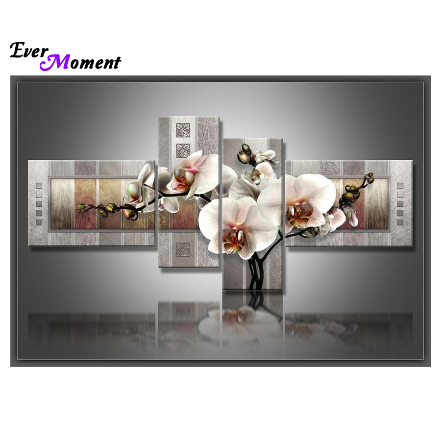 4 pcs set diy diamond painting cross stitch Orchid home decoration sqaure drill full diamond embroidery