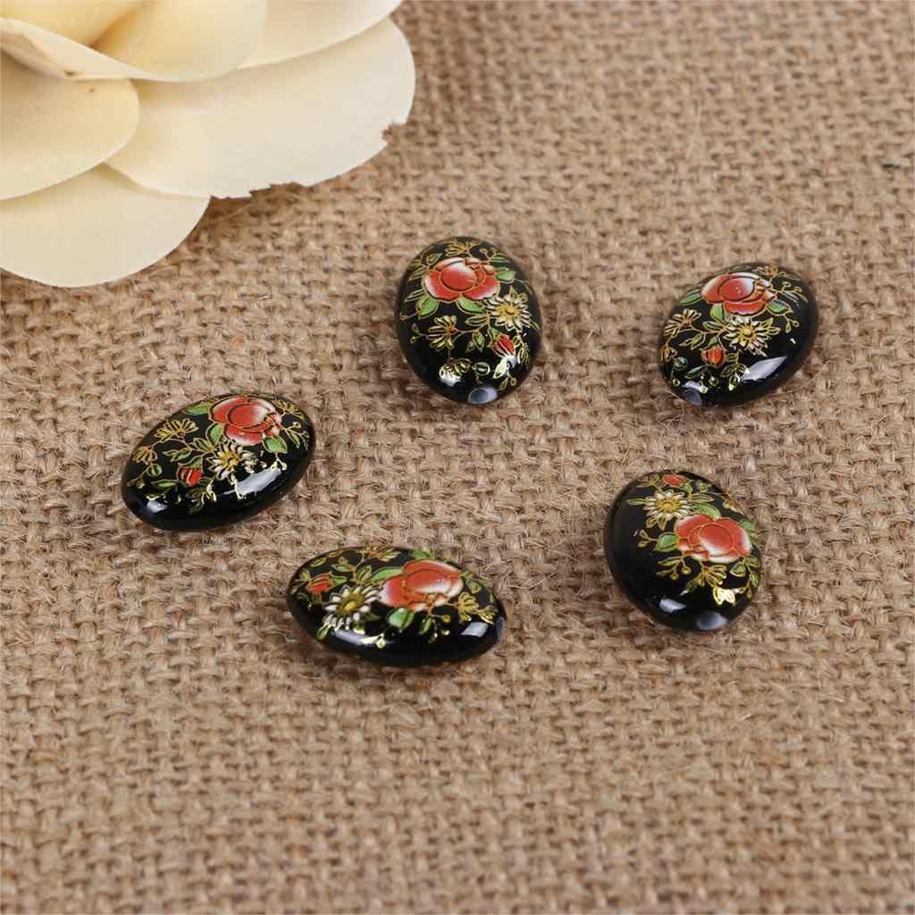 ESPACIADOR acrílico cuadro japonés Vintage japonés Tensha cuentas ovalado negro y rojo rosa patrón de flores alrededor de 19mm x 14mm, 5 uds