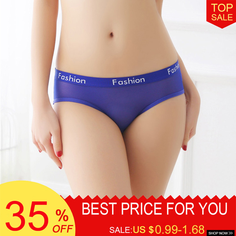 Luckymily Women's Sexy Lace Seamless Low Waist Lingerie Transparent Women Sexy Thong Thin Bikini   Panties   Comfortable Briefs