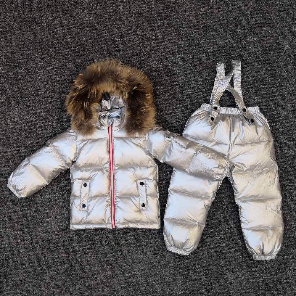 Girl winter warm suit boy outdoor ski down jacket baby bib down jacket two-piece shiny silver children waterproof jacket thirty two metcalf insulated jacket clay