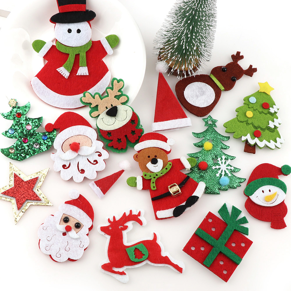 Christmas Decorations Handmade.Us 1 61 20 Off Lovely Non Woven Fabric Christmas Tree Applique Patches Diy Craft Decoration Handmade Applique Christmas Decorations For Home In