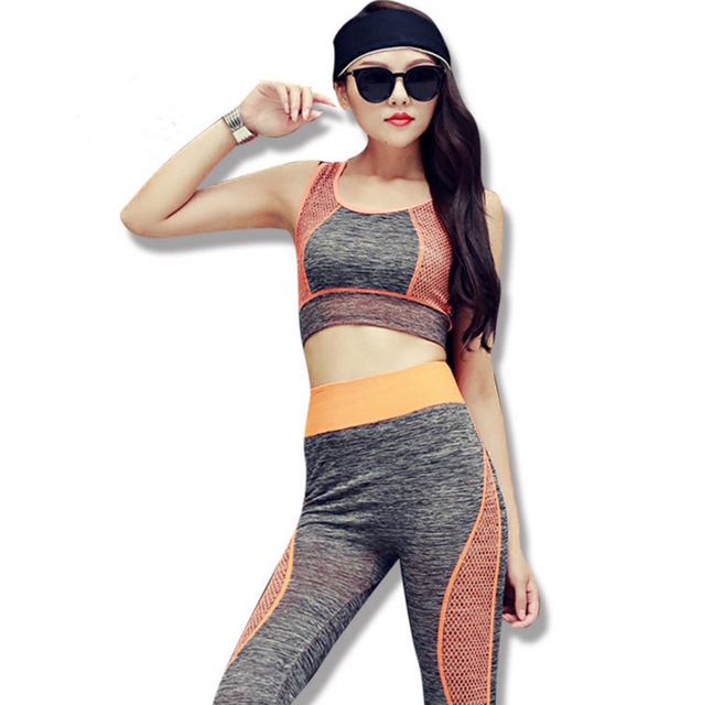 598c2a9b9b36f Women Yoga Sets Bra+Pants Fitness Workout Clothing And Women's Gym Sports  Running Girls Slim Leggings+Tops Running Suit