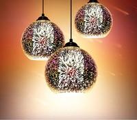 3 heads 3D plated Colorful firework glass Pendant lamp Creative chandelier bar restaurant balcony aisle lighting
