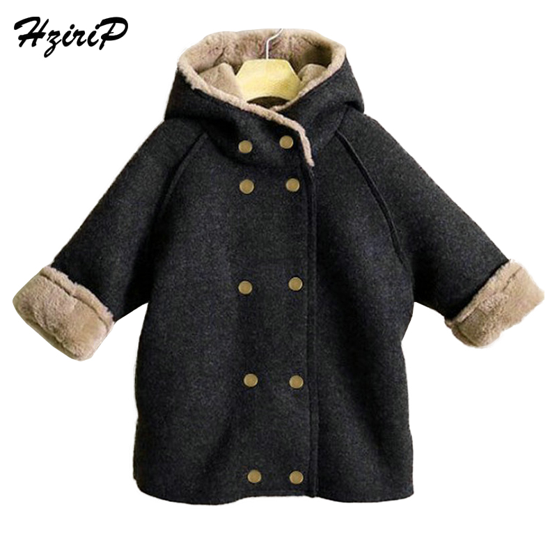 HziriP Hooded Jacket Super Soft Material Plus Velvet Padded Lapel Coat Double Breasted Winter Thickened  Outwear For 3-8 YearsHziriP Hooded Jacket Super Soft Material Plus Velvet Padded Lapel Coat Double Breasted Winter Thickened  Outwear For 3-8 Years