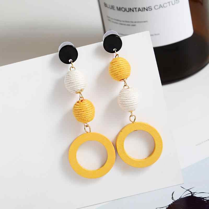 Hot Sale Earrings Fashion Linen Hemp Rope Ball Hit Color Brincos Long Statement Wood Round Drop Earrings Women Jewelry