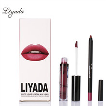 Matte Liquid Liyada Lipstick Lip Liner Makeup Cosmetic Waterproof Long lasting kilie lip Gloss Brand Beauty Batom Maquiage(China)