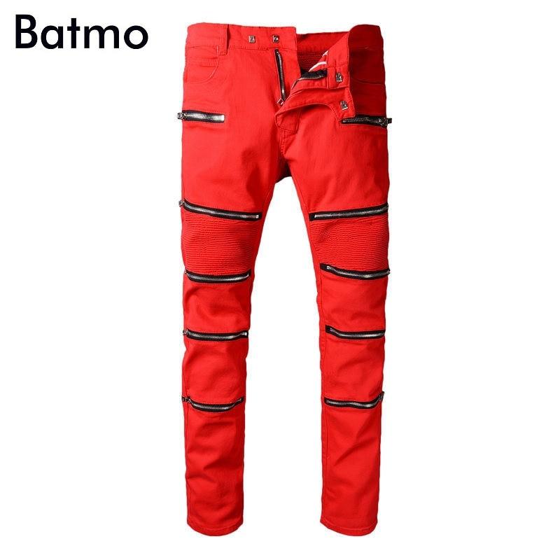 Batmo 2018 Новое поступление весна высокого качества модная повседневная тонкий плиссированные красные джинсы мужские повседневные джинсы, пл