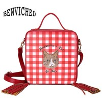 BENVICHED Women Embroidered cat Handbags Women tassel Messenger Bags Girls Fashion Shoulder Bag Ladies PU Leather Handbags a018