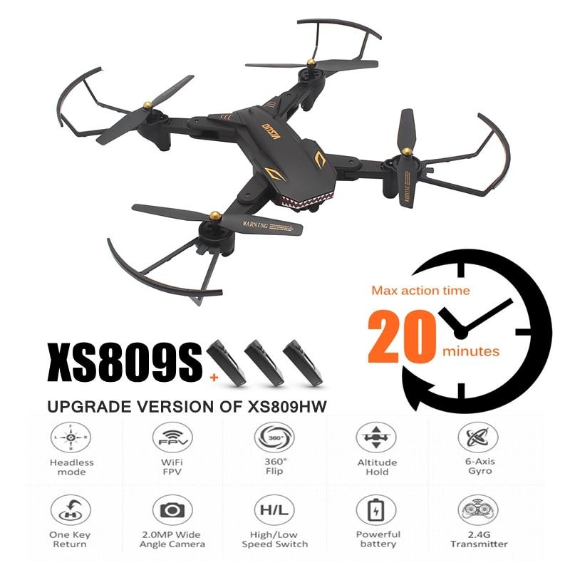XS809S RC Drone 720 p WIFI FPV con el gran angular HD Cámara plegable Drone largo tiempo de vuelo Rc helicóptero del viso XS809HW XS809W
